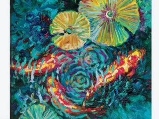 iCanvas  Pesci In Sunflowers  by Iris Scott Canvas Print