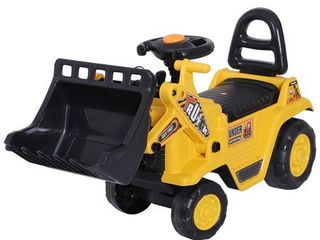 HOMCOM 3 in 1 Ride On Toy Bulldozer Digger Tractor Pulling Cart Pretend Play Construction Truck