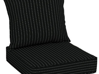 Arden Selections Acrylic Black Stripe Outdoor Deep Seat Cushion Set   46 in l x 25 in W x 7 5 in H