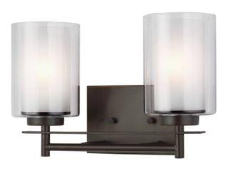 Sea Gull lighting Elmwood Park 13 25 in  W 2 light Heirloom Bronze Vanity light with lED Bulbs