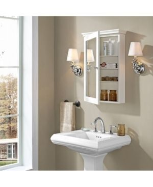 lydia Mirrored Wall Cabinet in White   Retail 141 99