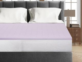 1 5 Inch lavender Infused Memory Foam Bed Topper Cooling Mattress Pad   Crown Comfort