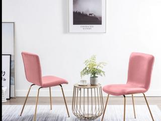 Art leon Modern Velvet Fabric Dining Chairs Set of 2 with Golden legs  Retail 179 99