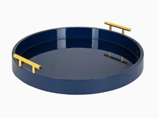 Kate and laurel lipton Modern Round Tray  15 5  in Diameter  Navy Blue and Gold  Decorative Accent Tray for Storage and Display