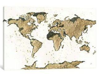 World Map Gold leaf Canvas Print