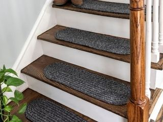 nulOOM Solid Indigo Indoor Outdoor Braided Stair Treads  Set of 13    8  x 28  Oval