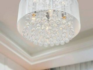 Silver Orchid Taylor 4 light Chrome and White Crystal Chandelier  16 inches W x 9 inches