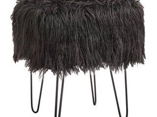 Miranda Faux Fur Stool Dark Gray   Buylateral