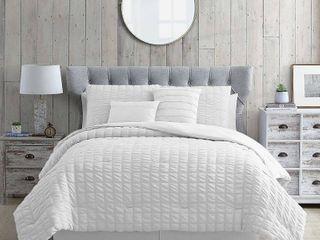 Kane Seersucker Comforter Set  White  Queen