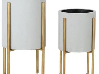Aspire Home Accents 5742 Nabila Set of 2 Circular Metal Planters with   Gold