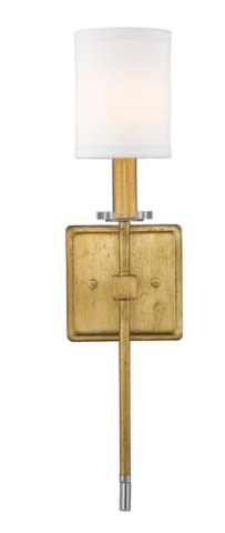 Dressy Glam 1 light Wall Sconce with Modern Shade in Antique Gold