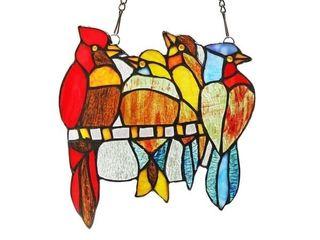 Chloe Tiffany Style Bird Design Stained Glass Window Panel Suncatcher
