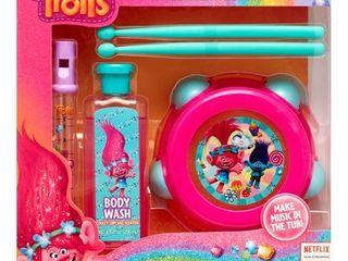 DreamWorks Trolls 4 Piece Musical Tub Tunes Bath Set with Drum and Flute
