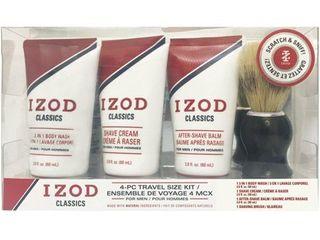 IZOD Mens Classics 4 pc  Shave Set One Size Red white
