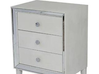 Avery Collection White Wood 3 drawer Cabinet with Clear Mirror   White Wash