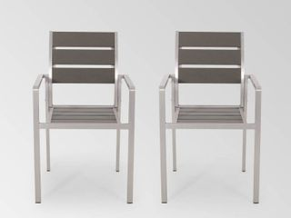 Cape Coral Outdoor Modern Aluminum Dining Chair with Faux Wood Seat  Set of 2  by Christopher Knight Home  Retail 225 49