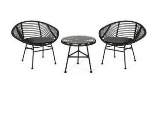 Meridian Outdoor 2 Seater Faux Wicker Chat Set by Christopher Knight Home   Gray  Dark Gray  Black 2 chairs