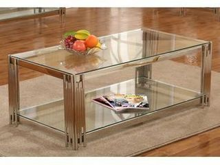 Silver Metal Clear Glass Coffee Table