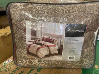 Red Perry Comforter Set Queen 7pc