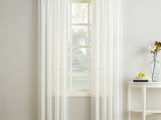 84 x51  Erica Crushed Sheer Voile Rod Pocket Curtain Panel Eggshell   No  918