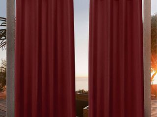 54 x108  Canvas Grommet Top light Filtering Window Curtain Panels Red   Nicole Miller