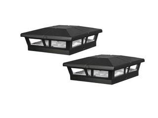 Classy Caps 6x6 Black Aluminum Cambridge Solar Post Cap  Set of 4