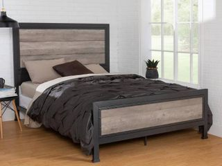 WE Furniture Queen Size Industrial Wood and Metal Bed
