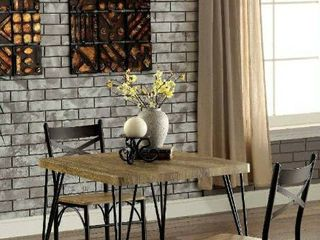 Furniture of America Amonica Industrial Style 3 Piece Casual Dining Set  small amount of Damage on 1 chair