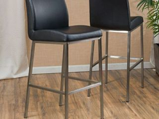 Vasos 30 inch Bonded leather Barstool  Set of 2  by Christopher Knight Home   Black