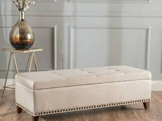 avin Tufted Fabric Rectangle Storage Ottoman Bench with Studs by Christopher Knight Home