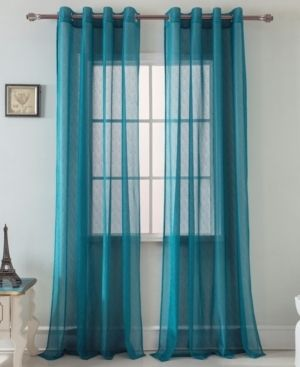 Spyder lace 54 x 90 in  Grommet Single Curtain Panel in Teal set of 2