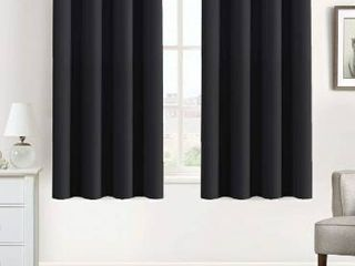 Flamingo P 100  Blackout Curtains for Bedroom Thermal Insulated Blackout Curtains Window Panel Drapes   2 Panels Set 42x84 Inch with Gun Metal Color Grommet Top  Black