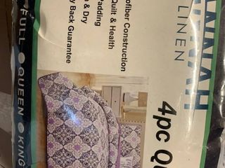 Hannah linen 4 Piece Down Alternative Design Quilt Bedding Set With Shams And