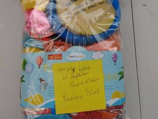 200 package latex with inflator pump and ribbon rainbow color balloons