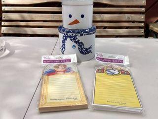 2 Martin designs inspirational notepad 100 sheets and snowman tin