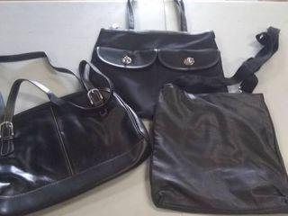 3 small medium black handbags