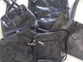 4 medium large black handbags and 1 small black handbags