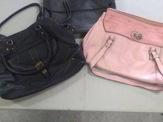 3 medium handbags  2 black and 1 pink