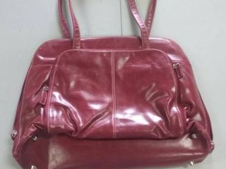 1 red faux leather computer bag overnight bag large purse