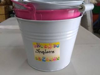 3 one gallon sized metal paint buckets
