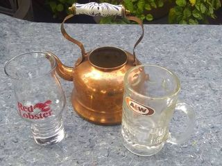 Three Mixed Decorative Pieces   Kettle  A W Mug  and Red lobster Glass