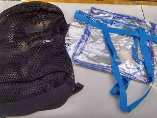 Mesh Backpack and Clear Handbag