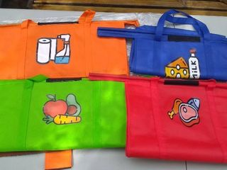 Eco Friendly Reusable Grocery Bags 4 Pack   Made to Hang on Cart