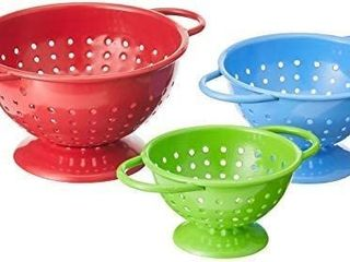 Prepworks by Progressive Powder Coated Steel Colanders Set of 3 Sizes  A1 4  A1 2 and 1 cup  Red  Blue and Green Mini Colander  Fruit Vegetable Strainer