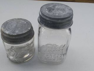 Two Vintage Mason Jars   Ball and Drey