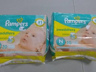 Pampers Swaddlers Newborn 40 Diapers  2 packs of 20