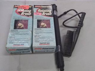 Pair of Coleman Rotating Pressure Washer Brushes  Hand Brush  and Three Extensions