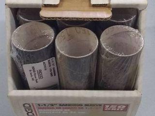 Display Box of 12 Ridgid 1 5  Fine Sanding Sleeve 150 Grit Ac7010