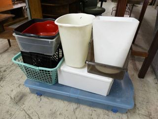 lot of Storage Totes  Waste Cans and More