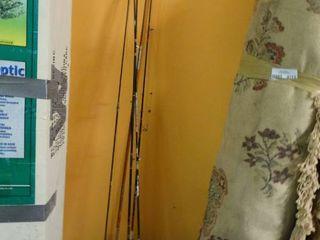 lot of Older Fishing Poles w  Reels